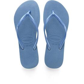 havaianas Slim Logo Flips Women Blue